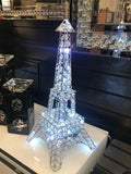 Small Clear Crystal Diamante LED Eiffel Tower Table Lamp