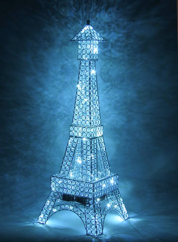 Medium Clear Crystal Diamante LED Eiffel Tower Table Lamp