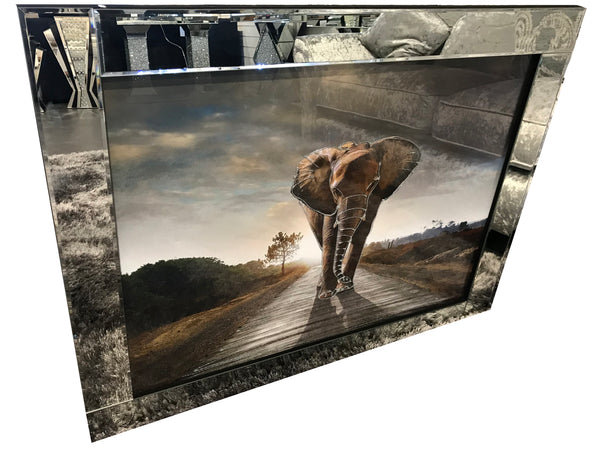Liquid Art Mirror Frame Elephant Wall Hanging Picture