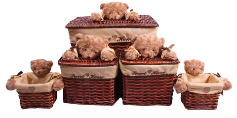 Brown Bear Wicker Basket Set
