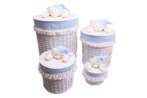 White & Blue Sleepy Bear Wicker Baskets
