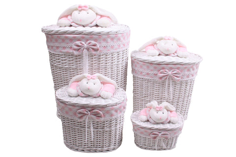 White & Pink Sleepy Rabbit Wicker Baskets