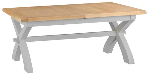 1.8m Oak & Hardwood Grey Cross Picnic Butterfly Extending Table