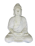 Rustic White Praying Zen Buddha Garden Ornament - Large