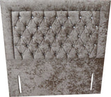 Haven Crushed Velvet Floor Standing Diamante Button Headboard