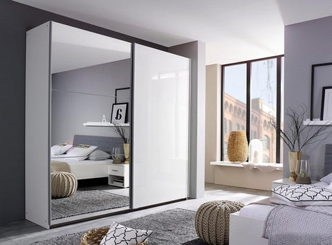 Berry Sliding Door Mirrored Wardrobe - White or Grey