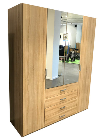 Harvard Oak Effect & Mirror Hinged Wardrobe
