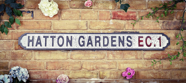 Hatton Gardens EC1 Vintage Retro White Black Road Sign