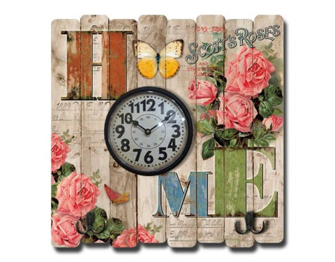 Home Multicolour Floral Rustic Shabby Chic Wooden French Effect Wall Clock