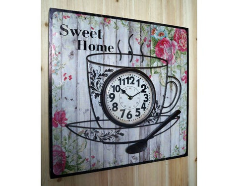 Home Sweet Home Tea Cup Floral Shabby Chic Wall Clock