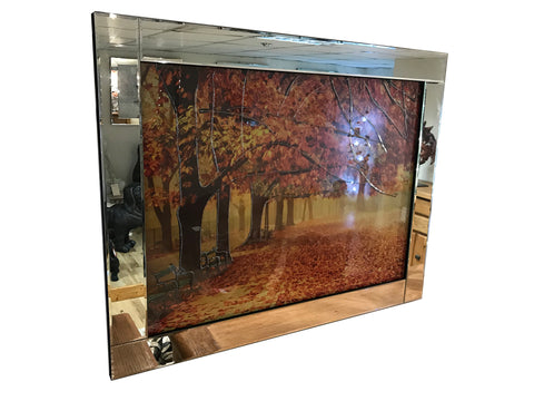 Liquid Art Mirror Frame Glitter Autumn Leaves Hanging Picture
