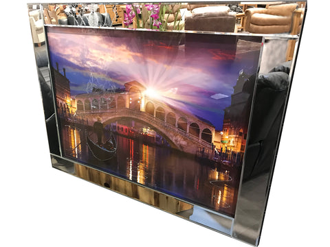 Liquid Art Mirror Frame Glitter Rialto Venice Bridge Sunset Hanging Picture