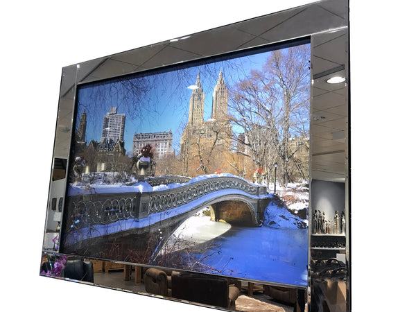 Liquid Art Mirror Frame Glitter New York Central Park at Christmas Hanging Picture