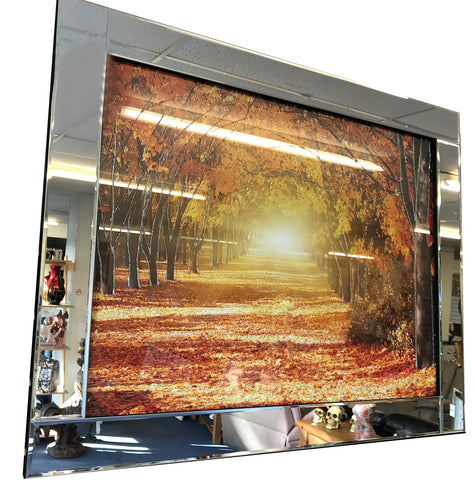 Liquid Art Mirror Frame Glitter Autumn Forest Hanging Picture