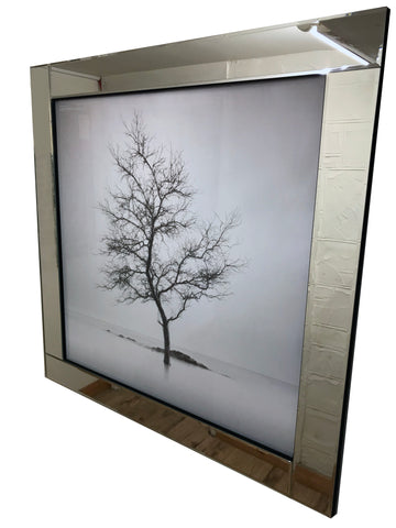Liquid Art Mirror Frame Glitter Winter Tree Wall Hanging Picture