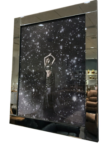 Liquid Art Mirror Frame Starstruck Model in Rain Wall Hanging Picture