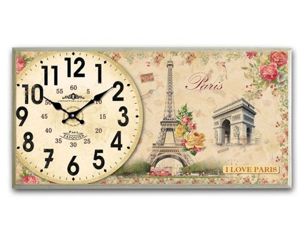 Rectangular Analogue Wall Clock with Eiffel Tower  Champs-Elysees Paris Inspired with Flowers