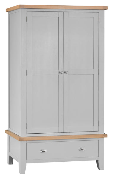 Oak & Hardwood Grey Large 2 Door Wardrobe
