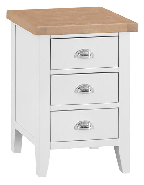 Oak & Hardwood White Large Bedside Cabinet