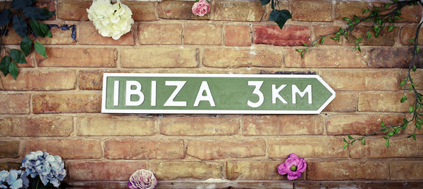 Ibiza 3km Green Vintage Spain Road Sign