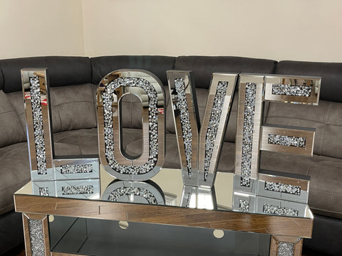 Mirrored large diamante crystal love letters wall art