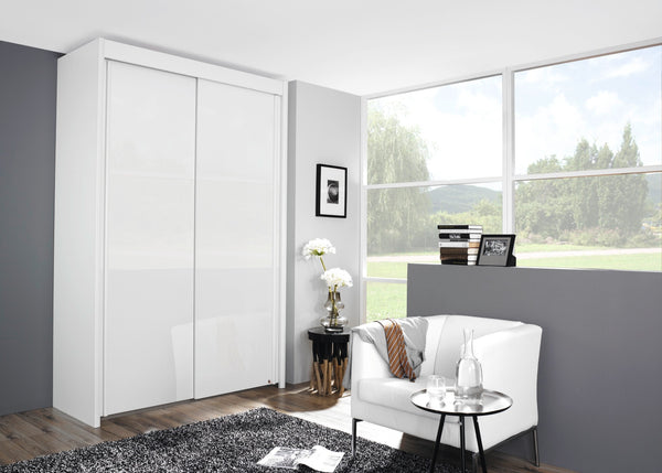 Glidestore Wardrobe in High Polish White