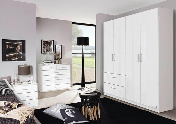 Cherry Hinged Wardrobe in High Polish White