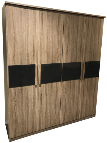 Jive Wood Effect Wardrobe with Glass Panel