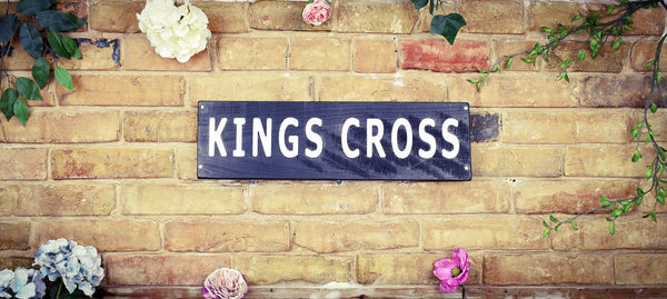 Kings Cross Black White Vintage Road Sign
