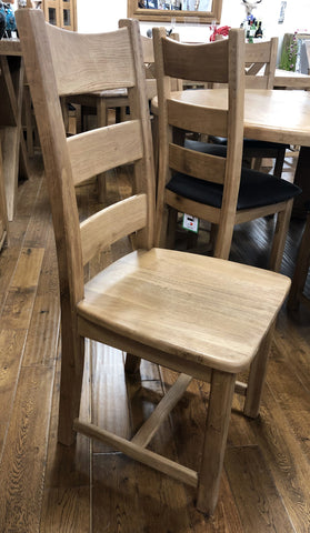 Weathered Oak Ladder Back Dining Chair
