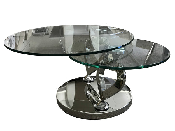 L'Amour Stainless Steel Love Heart Glass Rotating Coffee Table