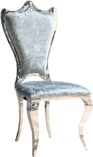 L'Amour Stainless Steel Blue Crushed Velvet Dining Chair