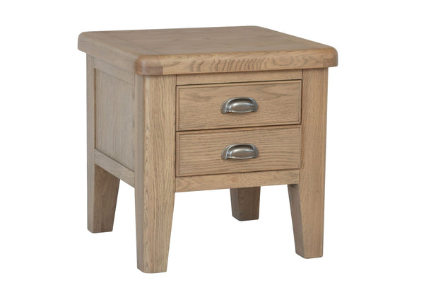 Warm Rustic Oak Effect Lamp Table with Drawers