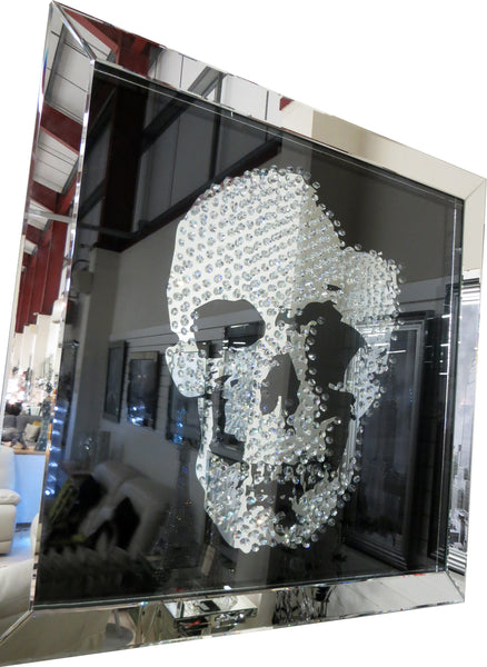Large Crystal Decor Floating Jewel Gems Black Skull Square Picture Mirror