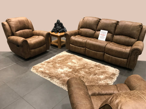Light Brown Leather Look Fabric Stitch Detail Rocker Recliner Suite