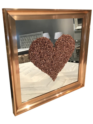 Rose Gold Liquid Art Love Heart Square Mirror