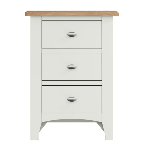 Fresh White with Oak Tops Low Bedside Cabinet