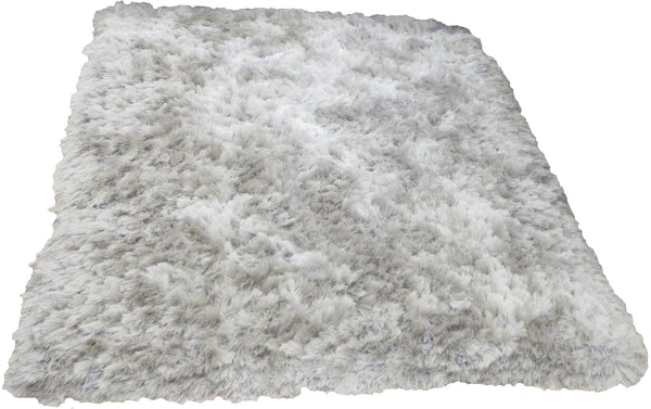Luxury Silver Shag Pile Thick Luxurious Floor Rug