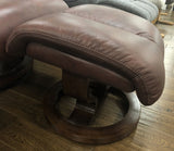 Manhattan Leather Recliner Swivel Chair with Stool
