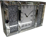 Mirrored Jewel Gem Diamante White Face Glass Mantle Clock