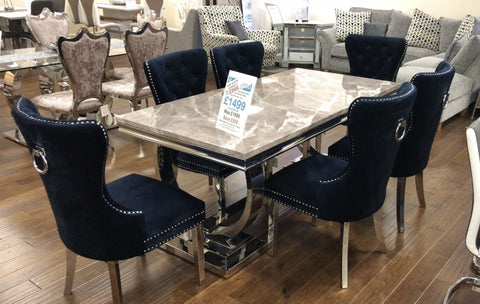 Marble & Chrome Dining Table & 6 Brushed Blue Velvet Knocker Dining Chairs