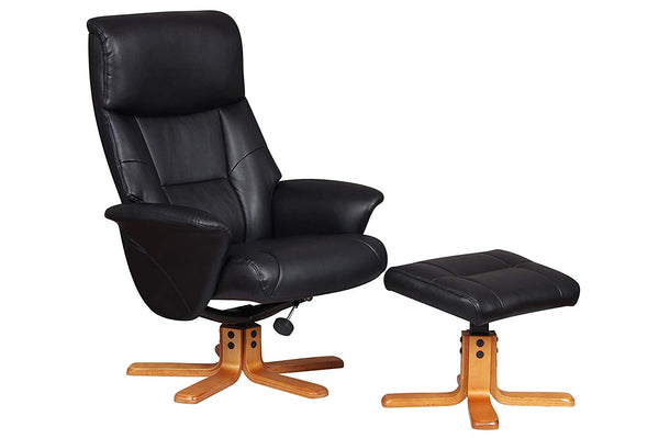 Marseille Swivel Faux Leather Recliner Chair & Stool - Black