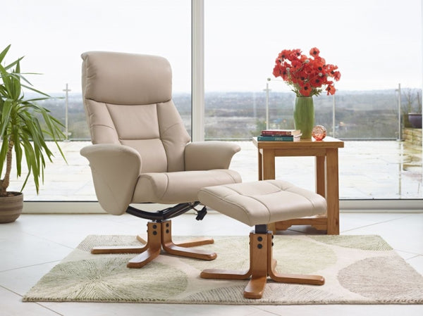 Marseille Swivel Faux Leather Recliner Chair & Stool - Cafe Latte