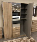 Marvin Hinged Wardrobe with Chrome Coloured Edges