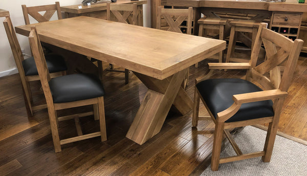 Reclaimed Oak Maxi Dining Table with Faux Leather Chair / Bench