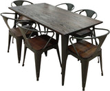 Elm Wood & Steel Dining Table & 6 Chairs