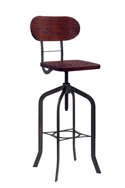 Elm Wood & Steel Swivel Bar Stool