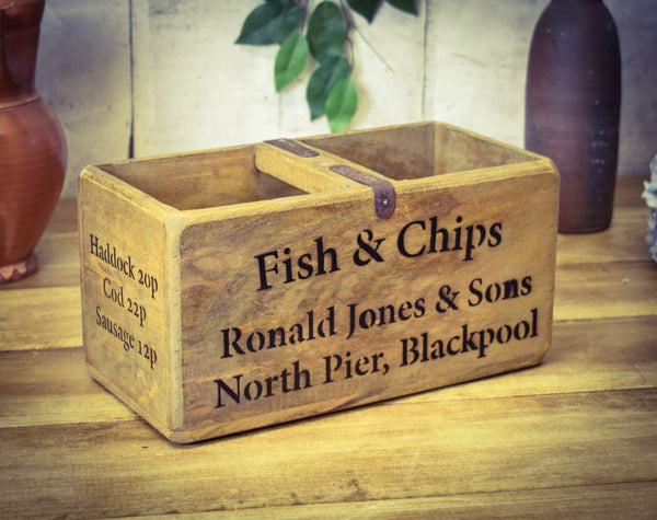 Medium Fish & Chips Solid Wood Vintage Carry Box