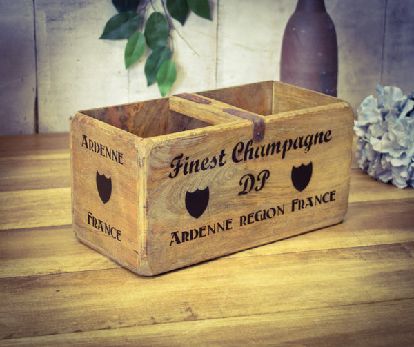 Medium Finest Champagne Vintage Solid Wood Carry Box