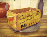 Medium Colemans Mustard Solid Wood Vintage Carry Box